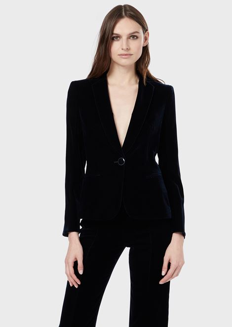 Single-breasted velvet jacket