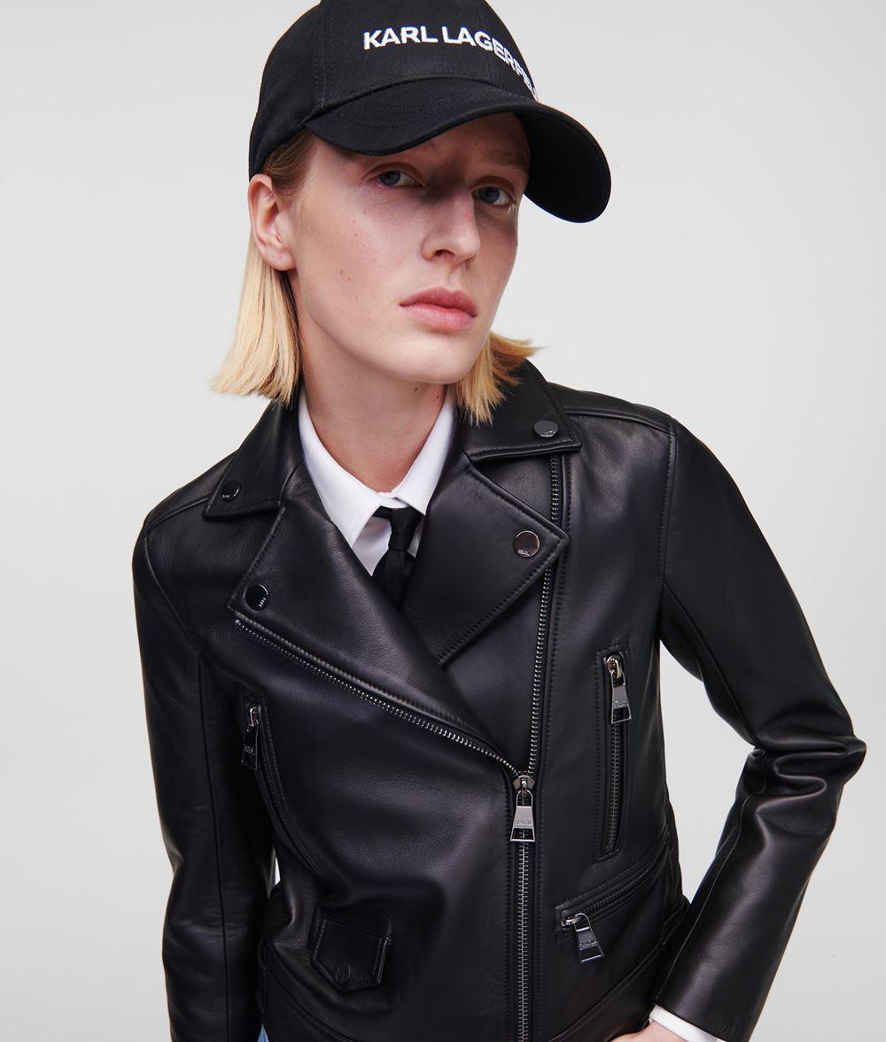 KARL LAGERFELD Leather Biker Jacket Jacket Woman f