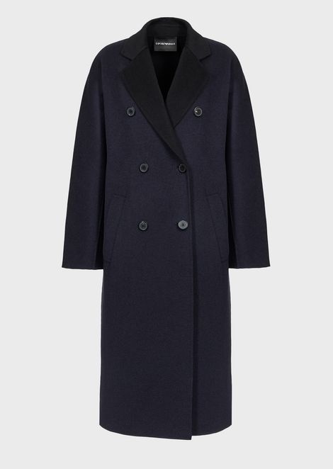 Double-breasted, cashmere wool cloth coat with horn buttons