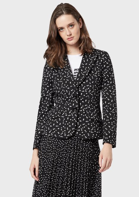Single-breasted jacket in polka-dot jacquard fabric