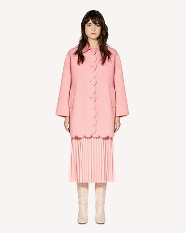 REDValentino Pressed bouclé coat with scallop detail