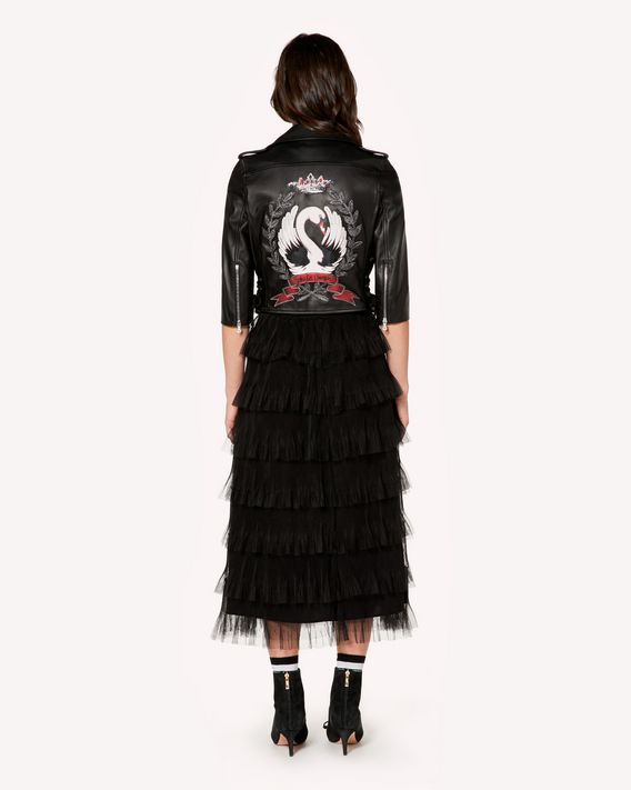 REDValentino Leather biker jacket with swan print