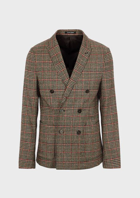 Double-breasted jacket in Prince of Wales wool blend