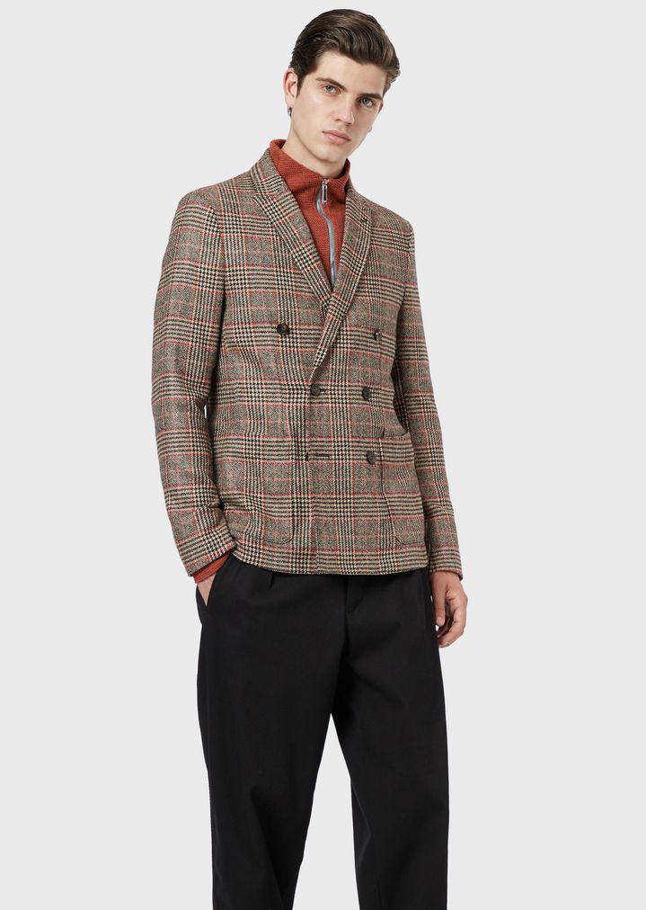 online store f66e1 d645b Giacca doppiopetto in misto lana Principe di Galles