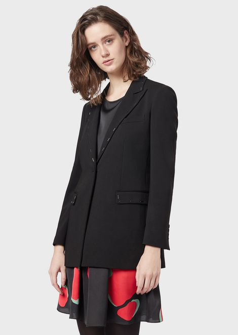 Polyester gabardine single-breasted jacket with baguette studs