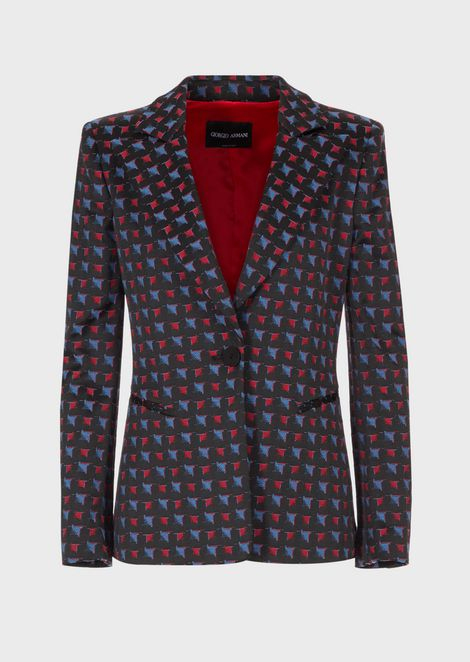 Gradient damier jacquard jacket