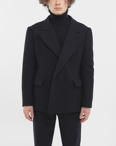 COATS and JACKETS Fitted wool coat Blue