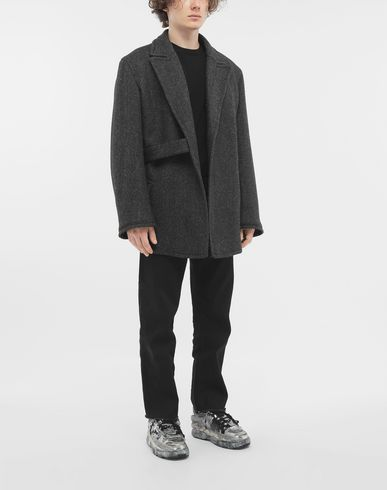 COATS and JACKETS Scratch fastening herringbone pea coat Grey