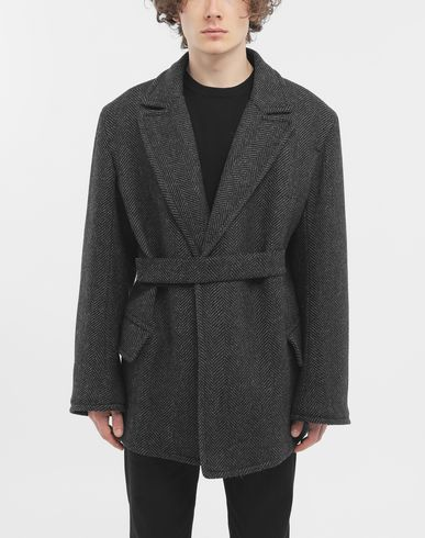 COATS & JACKETS Scratch fastening herringbone pea coat Grey