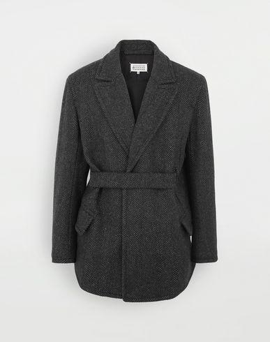 MAISON MARGIELA Scratch fastening herringbone pea coat Jacket Man f