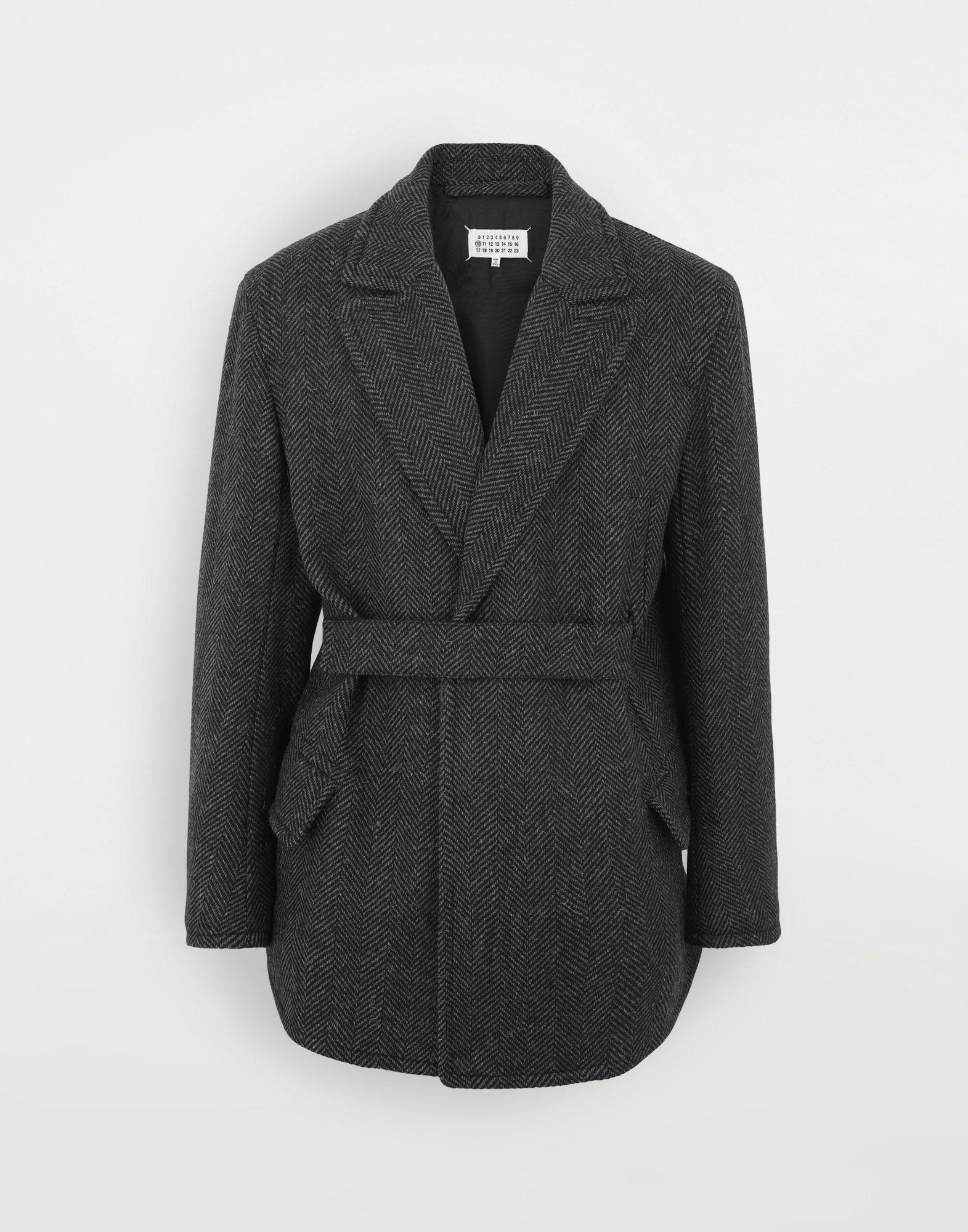 MAISON MARGIELA Scratch fastening herringbone pea coat Light jacket Man f