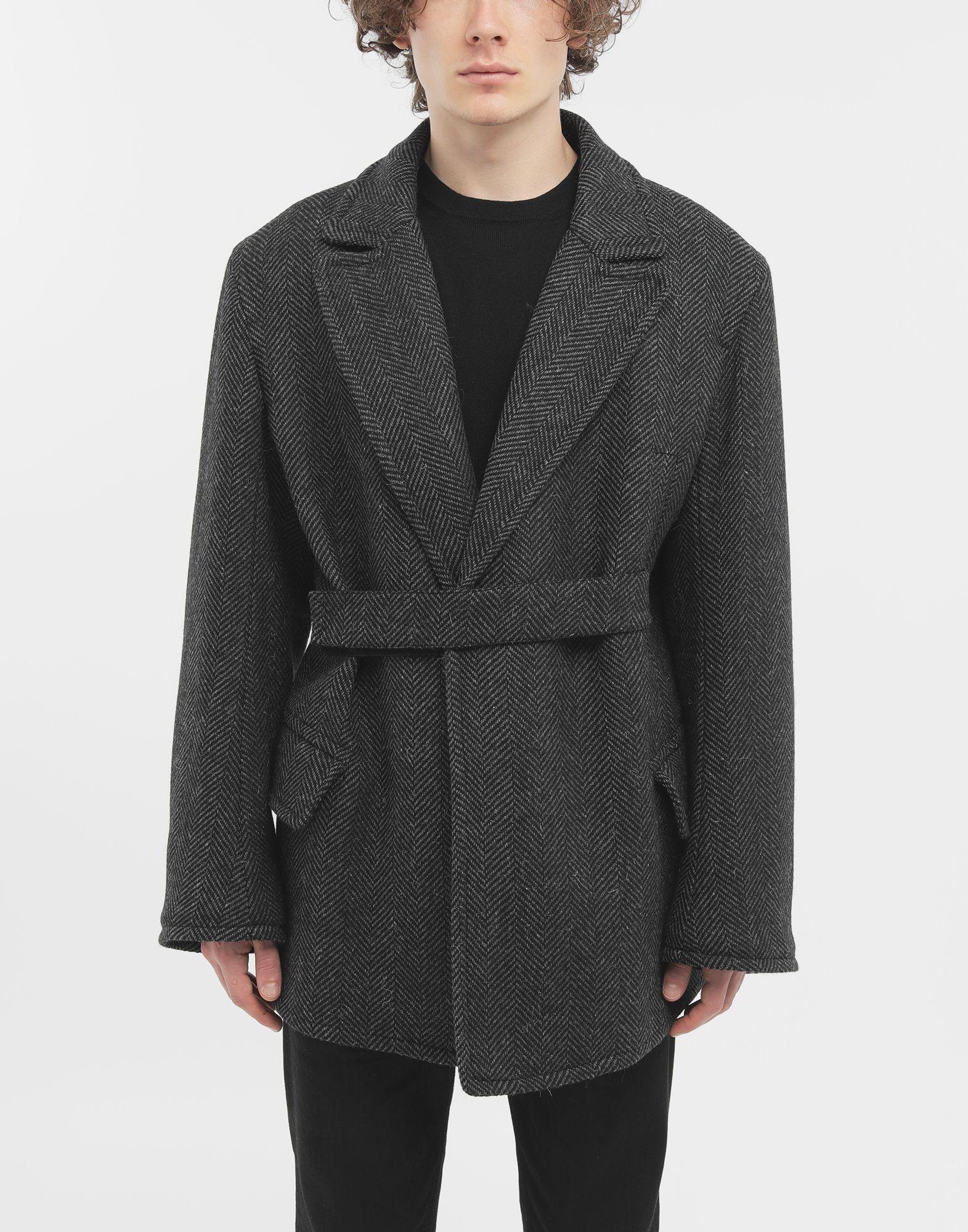 MAISON MARGIELA Scratch fastening herringbone pea coat Light jacket Man r