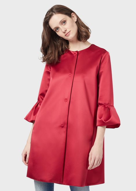 Satin duster coat with flounced sleeves