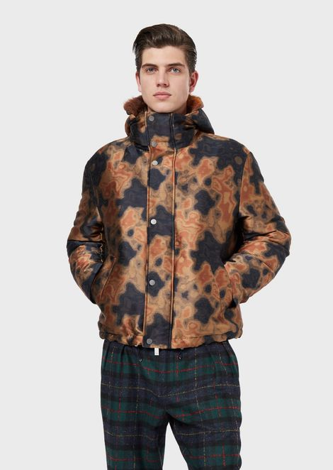 Jacquard jacket with camouflage design