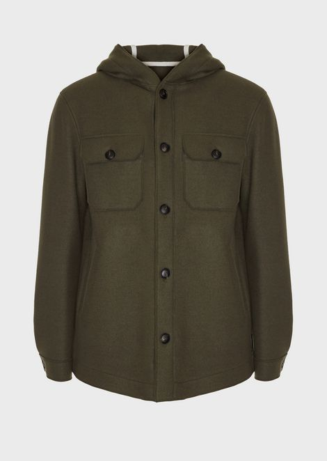 Peacoat in wool blend cloth with hood