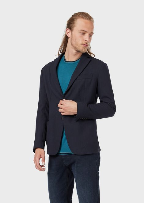 Single-breasted jacket in wool crêpe with a 3D chevron motif
