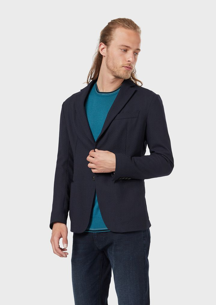 62a617e6af0a0 Single-breasted jacket in wool crêpe with a 3D chevron motif   Man   Emporio  Armani