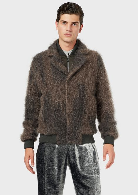 Gradient, long-haired mohair blouson