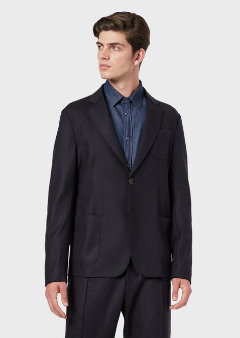 Single-breasted jacket in pure virgin wool with patch pockets