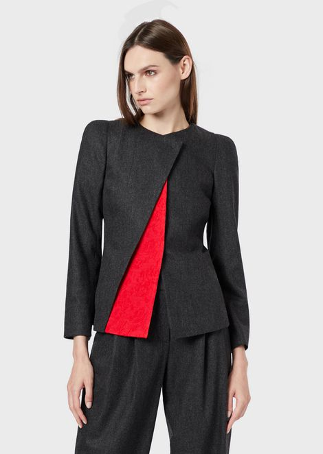 Felt jacket with an asymmetric, contrasting triangle