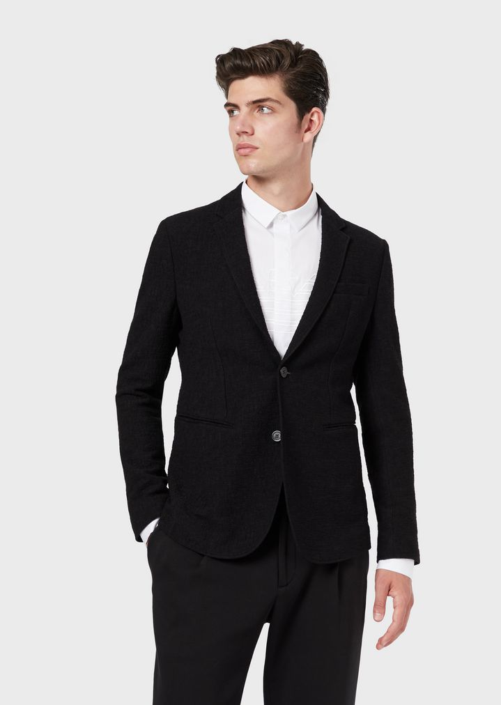 1ba7617e85 Single-breasted jacket in textured stretch fabric