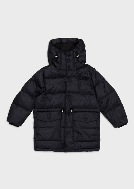 Long, quilted down jacket in glossy nylon