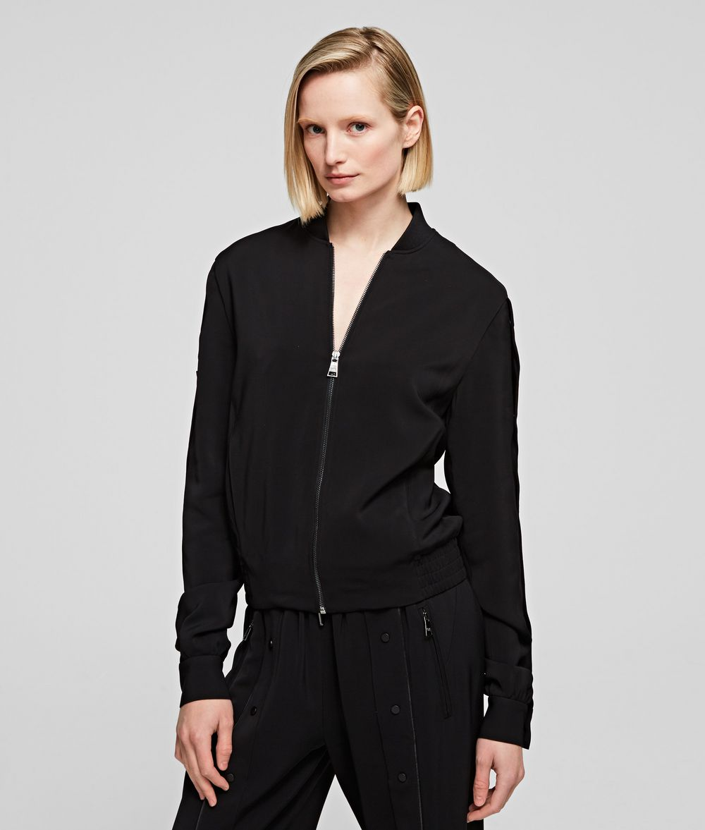 KARL LAGERFELD Snap-Sleeved Bomber Jacket Woman f