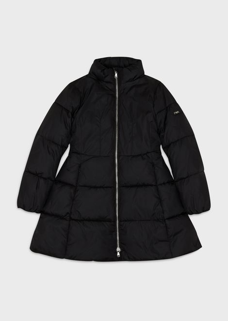 Flared, quilted coat with zip