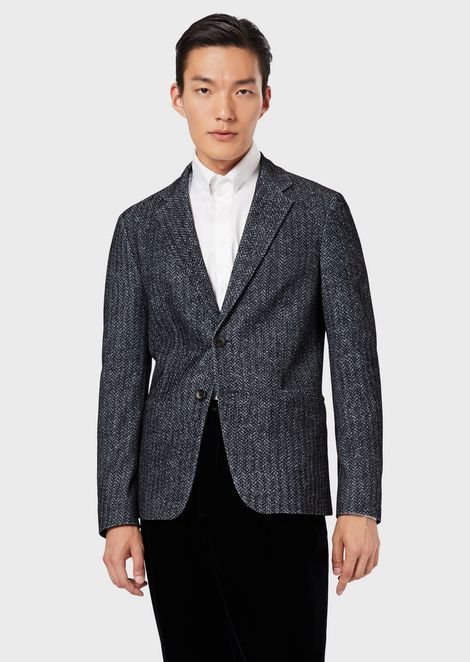 Slim-fit jacket with printed, flocked mesh fabric