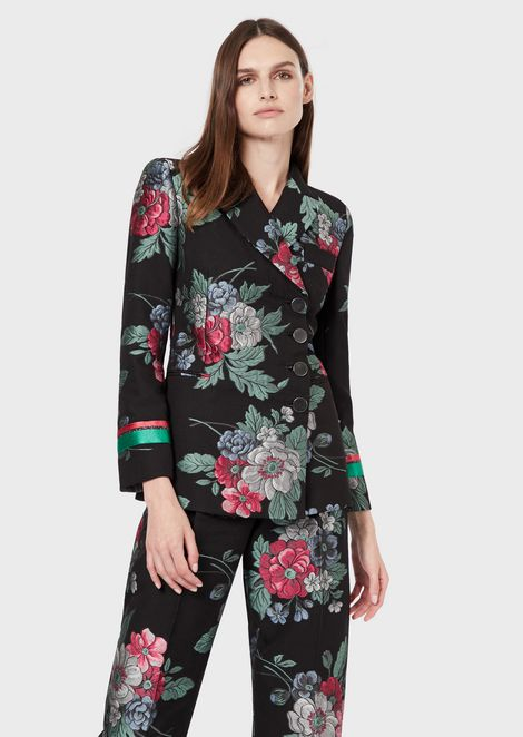 Floral jacquard double-breasted jacket