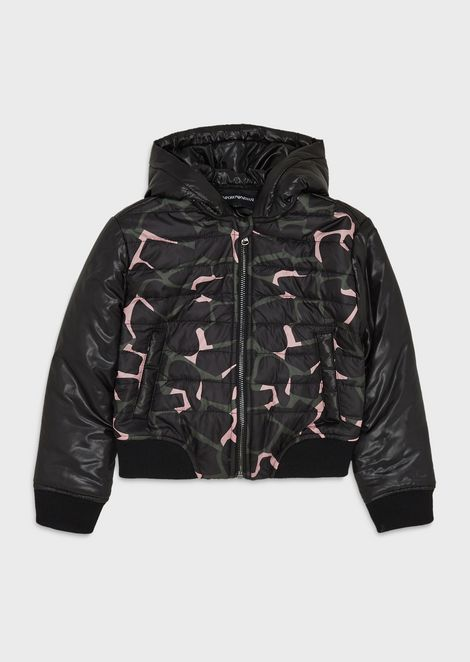Giraffe-print quilted jacket
