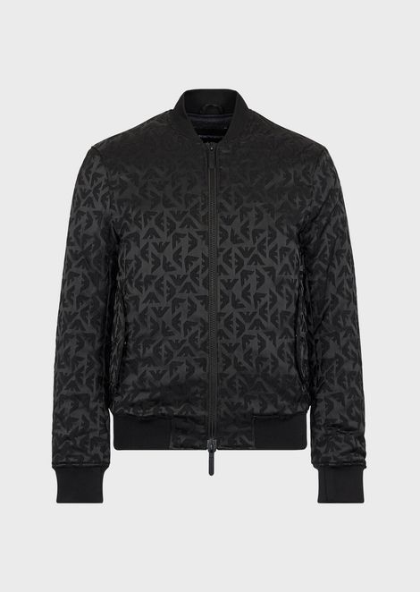 Padded, reversible bomber with all-over jacquard motif