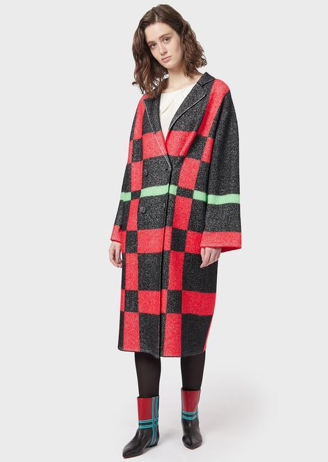 Double-breasted boiled wool, tartan jacquard coat