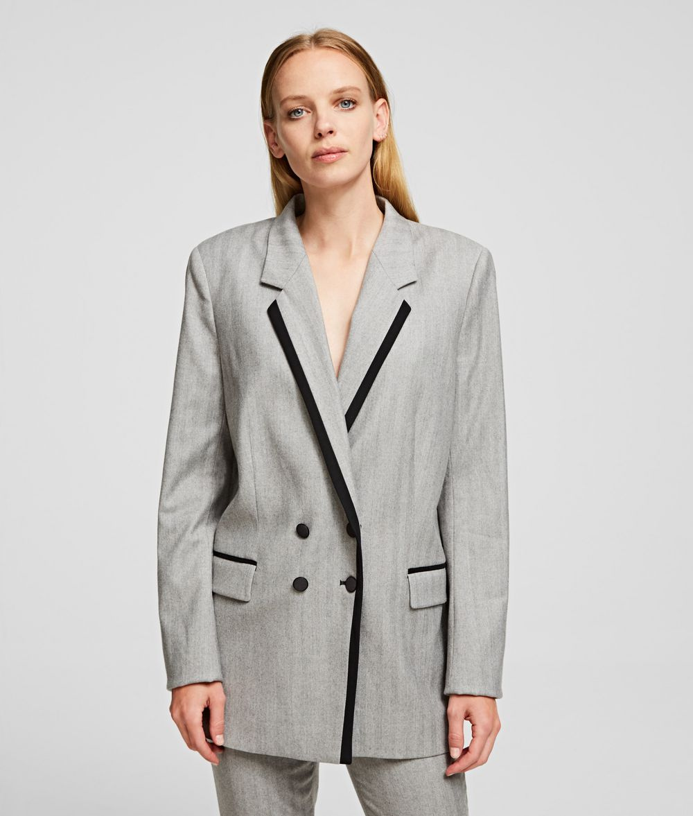 KARL LAGERFELD Tailored Wool Blend Jacket Blazer Woman f