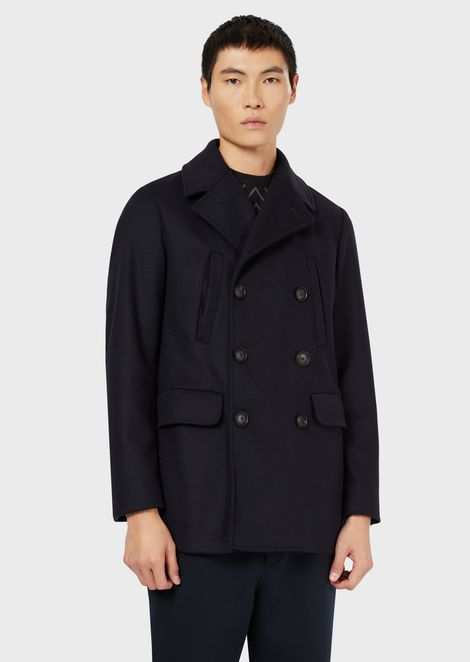 Peacoat in water-repellent wool cloth