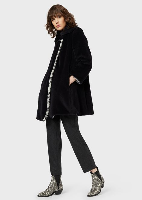 Reversible faux-fur coat with leopard-print on one side