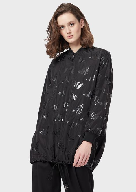 Nylon blouson with all-over eagle design