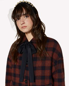 REDValentino Wool prince of wales coat with bow collar