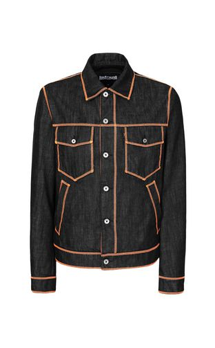JUST CAVALLI Denim Jacket Man Denim jacket with logo f