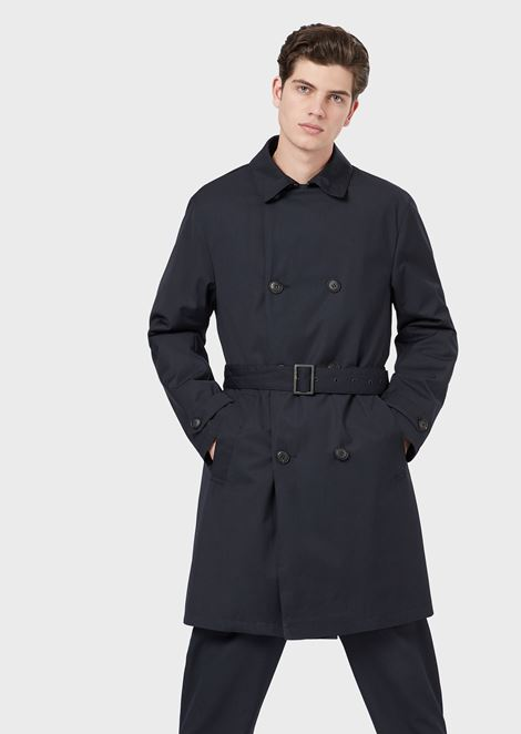 Double-breasted trench coat with belt
