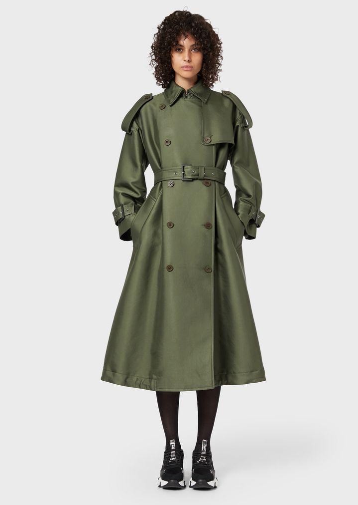e423173c3a Cappotto lungo doppiopetto con mostrine e cintura