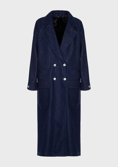 Двубортное пальто из денима свнутренним жилетом из эко-меха