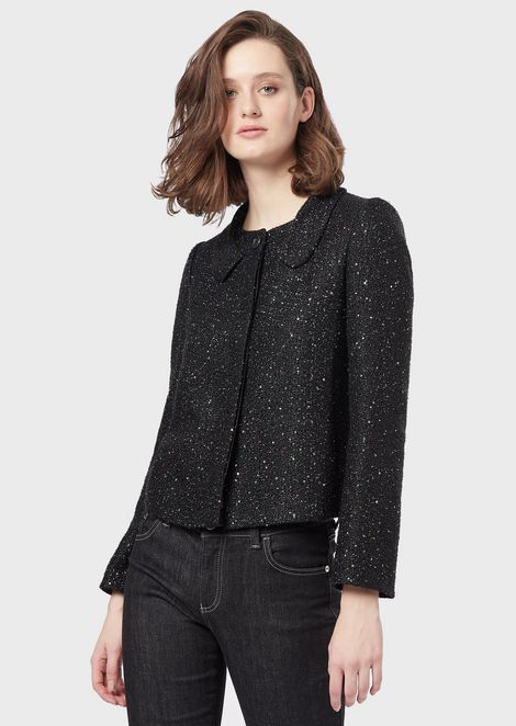 Sequinned basketweave jacket