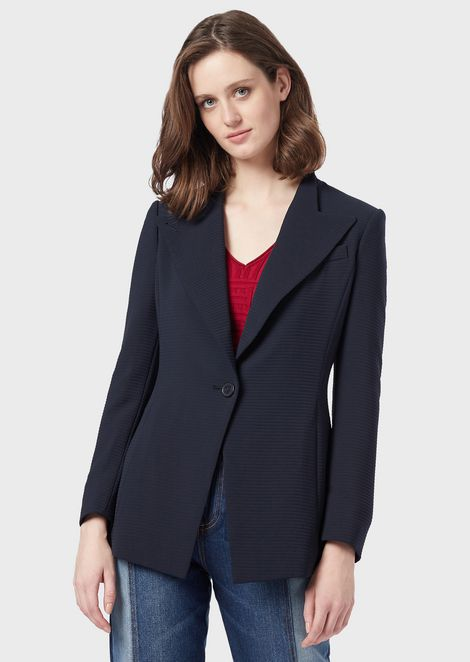 Seersucker single-breasted jacket with peaked lapels