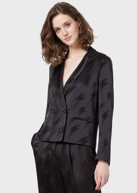 Satin double-breasted jacket with jacquard motif