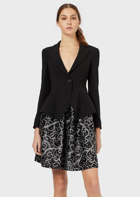 Flared single-breasted jacket in crêpe cady