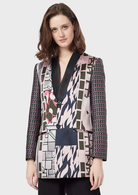Single-breasted jacket in patchwork jacquard fabric