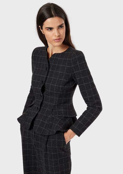 Flannel jacket with contoured neckline and peplum