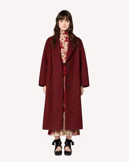 Manteau en laine à chevrons avec détail ruché