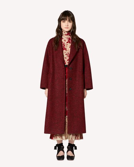 Ruffle detail Wool Herringbone coat